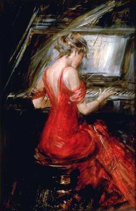 Boldini woman in red